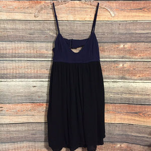 Silence + Noise gauze navy black open back dress